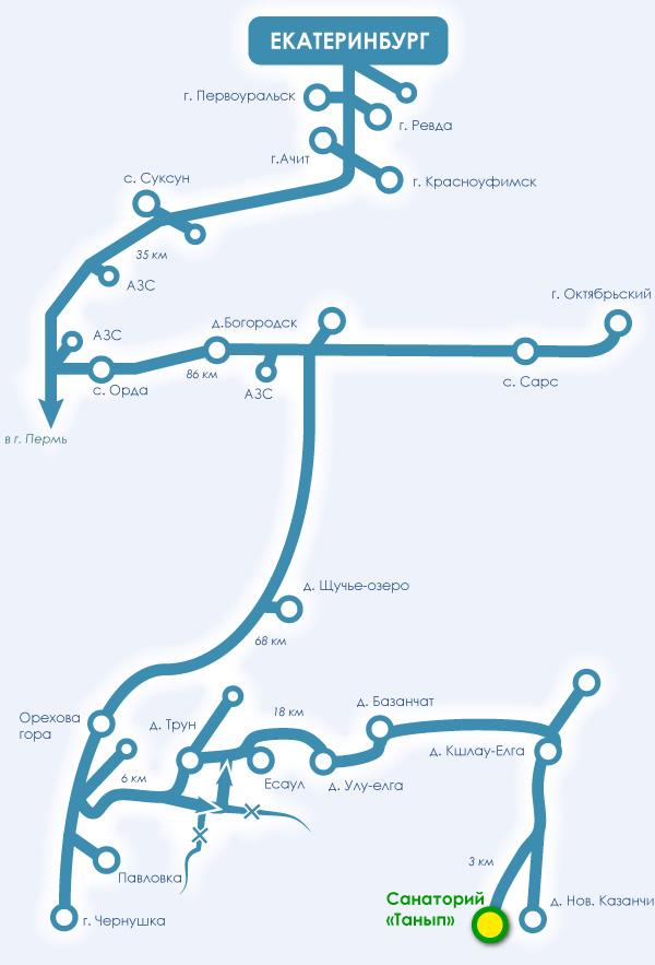 Карта проезда до санатория от
